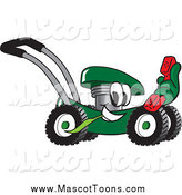 Vector Cartoon of a Green Lawn Mower Mascot Holding out a Red Telephone by Toons4Biz