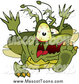 Vector Cartoon of a Gross Green Bug Attacking by Toons4Biz