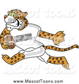 Vector Cartoon of a Leopard School Mascot Running and Playing Football by Toons4Biz