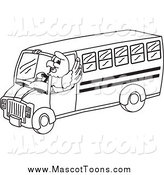 Vector Cartoon of a Lineart Bald Eagle Hawk or Falcon Bus Driver by Toons4Biz