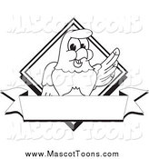 Vector Cartoon of a Lineart Bald Eagle Hawk or Falcon Diamond Banner by Toons4Biz