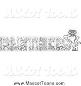 Vector Cartoon of a Lineart Panther Character Mascot with PANTHERS Text by Toons4Biz