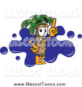 Vector Cartoon of a Palm Tree Mascot Pointing up over a Blue Ink Splatter by Toons4Biz