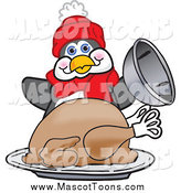 Vector Cartoon of a Penguin Mascot Serving a Thanksgiving Turkey by Toons4Biz