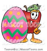 Vector Cartoon of a Red Apple with a Pink Easter Egg by Toons4Biz