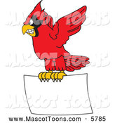 Vector Cartoon of a Red Cardinal Mascot Flying with a Blank Sign by Toons4Biz
