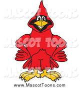 Vector Cartoon of a Red Cardinal Mascot with His Hands on His Hips by Toons4Biz
