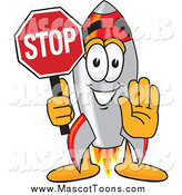 May 5th, 2014: Vector Cartoon of a Rocket Mascot Holding a Stop Sign by Toons4Biz