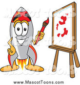 January 24th, 2014: Vector Cartoon of a Rocket Mascot Painting on a Canvas by Toons4Biz