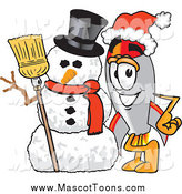 Vector Cartoon of a Rocket Mascot with a Christmas Snowman by Toons4Biz