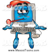 Vector Cartoon of a Sick Desktop Computer Mascot Sitting by Toons4Biz