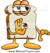 Vector Cartoon of a Slice of White Bread Mascot Whispering by Toons4Biz