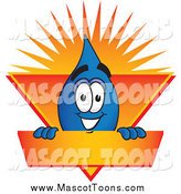 February 20th, 2015: Vector Cartoon of a Water Drop Mascot on an Orange and Yellow Label by Toons4Biz