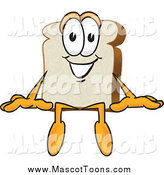 Vector Cartoon of a White Bread Mascot Sitting on a Surface by Toons4Biz