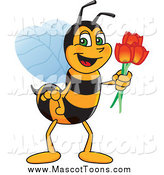 Vector Cartoon of a Worker Bee Mascot Holding Tulip Flowers by Toons4Biz