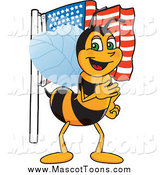 Vector Cartoon of a Worker Bee Mascot Pledging Allegiance to an American Flag by Toons4Biz