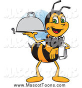 Vector Cartoon of a Worker Bee Mascot Serving a Platter by Toons4Biz