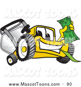 August 25th, 2017: Vector Cartoon of a Yellow Lawn Mower Mascot Character Holding Cash Money by Toons4Biz