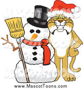 Vector of a Bobcat Mascot with a Snowman by Toons4Biz