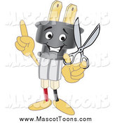 July 28th, 2015: Vector of a Electric Plug Mascot Holding up a Finger and Scissors by Toons4Biz