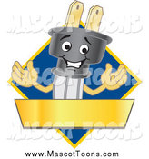 Vector of a Happy Electric Plug Mascot Logo with a Blue Diamond and Gold Banner by Toons4Biz