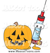 Vector of a Medical Syringe Mascot with a Halloween Pumpkin by Toons4Biz