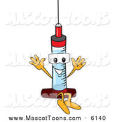 Vector of a Medical Syringe Needle Mascot Jumping by Toons4Biz