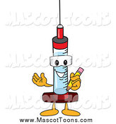 Vector of a Syringe Mascot Holding a Pencil by Toons4Biz