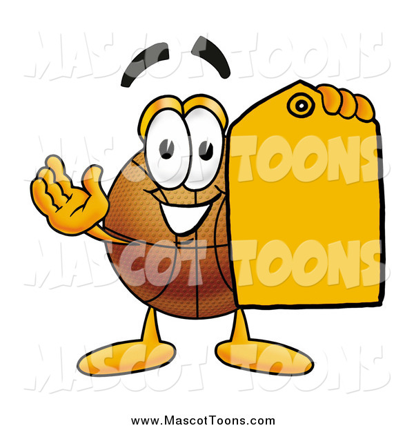 Cartoon of a Basketball Mascot Holding an Orange Sales Price Tag
