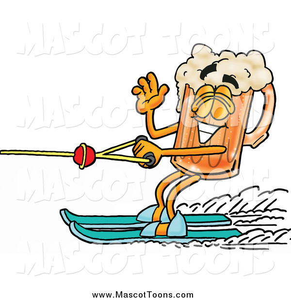 Cartoon of a Beer Mug Mascot Waving While Passing by on Water Skis