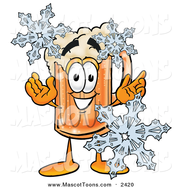 Cartoon of a Beer Mug Mascot with Winter Snowflakes