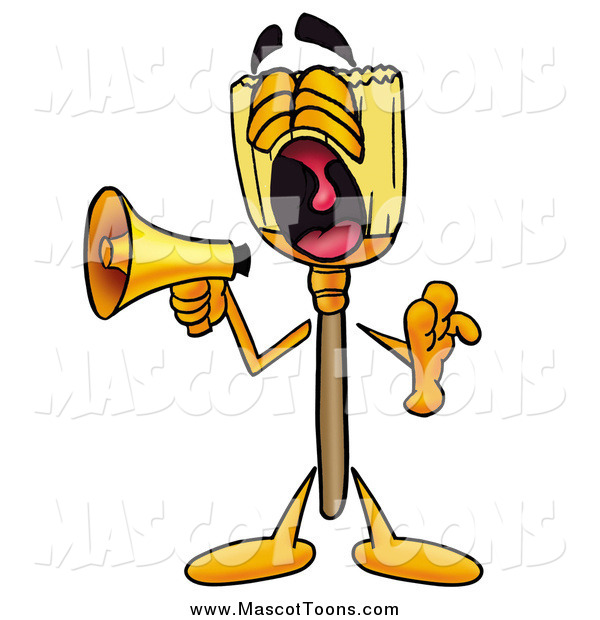 Cartoon of a Broom Mascot Screaming into a Megaphone
