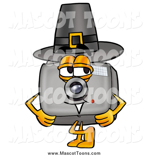 Cartoon of a Camera Mascot Wearing a Pilgrim Hat on Thanksgiving