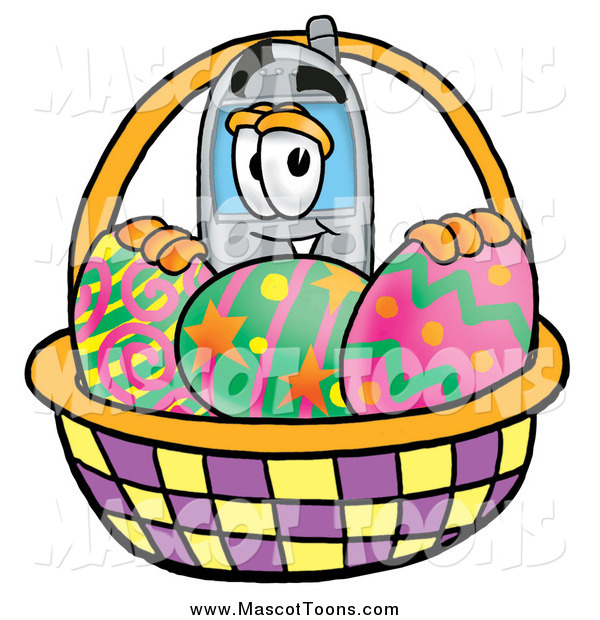 Cartoon of a Cellular Telephone Mascot with a Basket of Easter Eggs