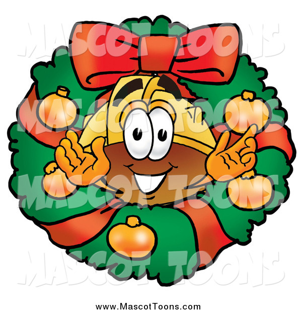 Cartoon of a Christmas Wreath and Hardhat Mascot