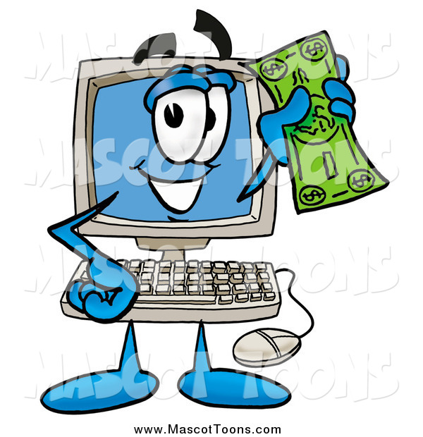 Cartoon of a Desktop Computer Mascot Waving a Dollar Bill