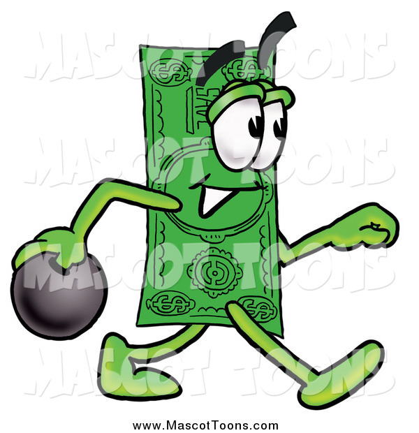 Cartoon of a Dollar Bill Mascot Bowling
