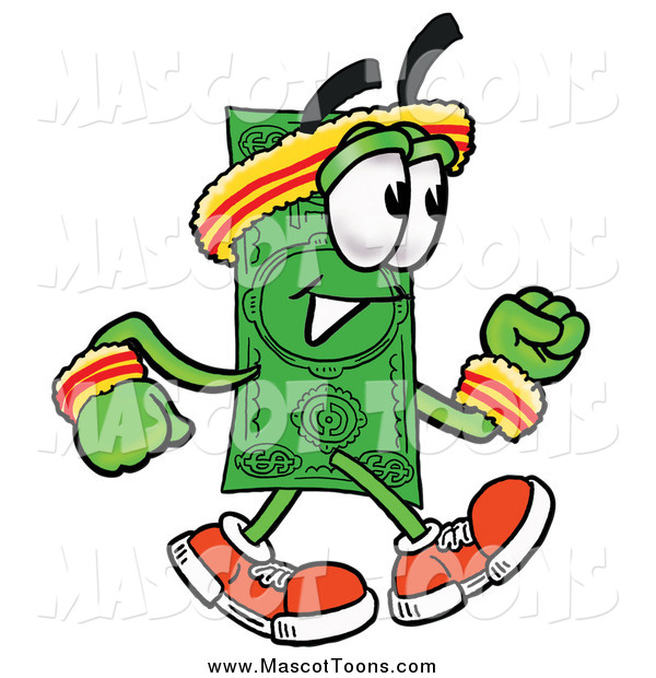 Cartoon of a Dollar Bill Mascot Speed Walking