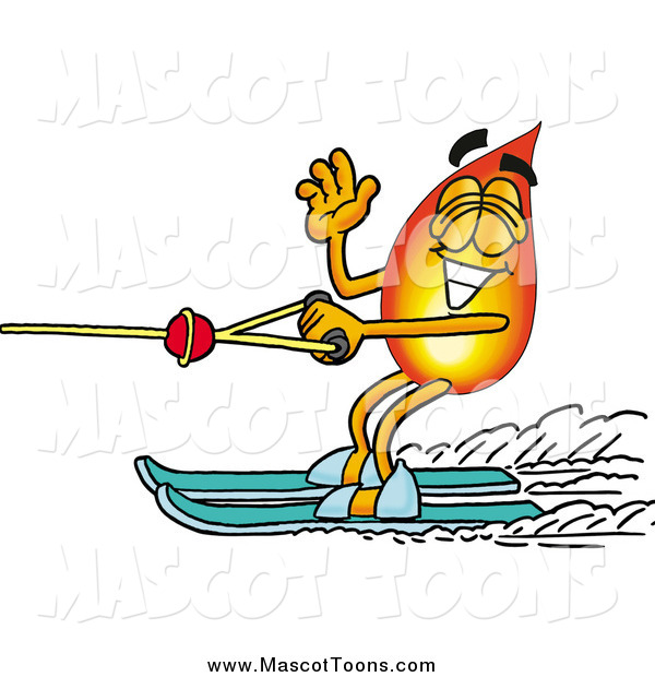 Cartoon of a Fire Mascot Waving While Water Skiing