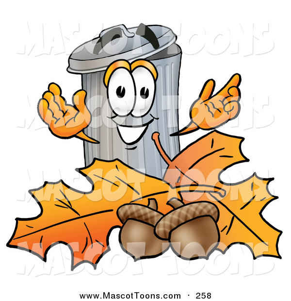 Cartoon of a Garbage Can Mascot with Autumn Leaves and Acorns