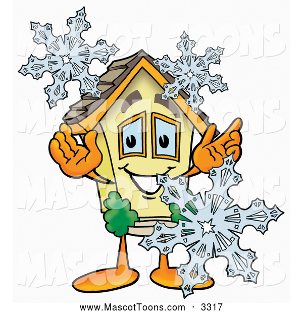 Cartoon of a House Mascot with Winter Snowflakes