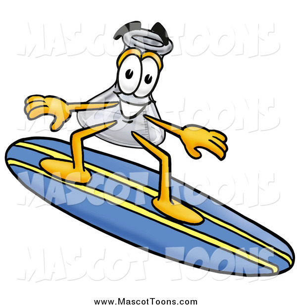 Cartoon of a Laboratory Flask Beaker Mascot Cartoon Character Surfing on a Blue and Yellow Surfboard