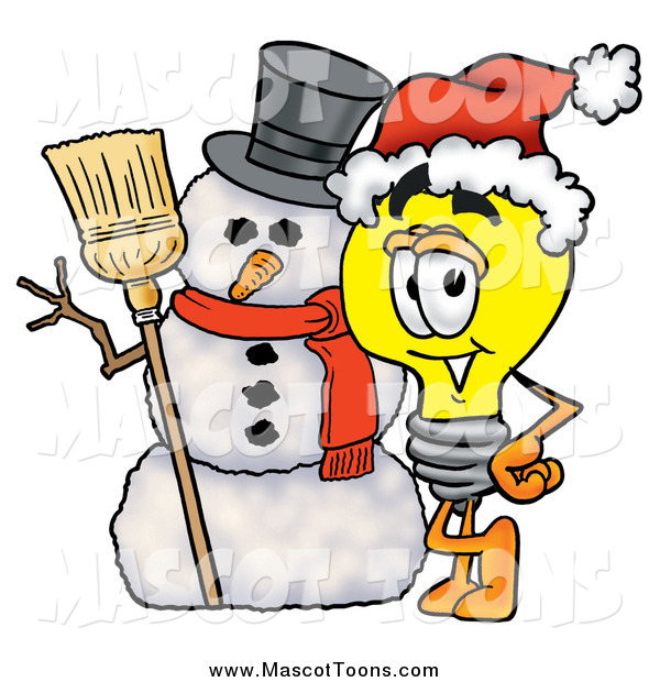 Cartoon of a Light Bulb Mascot Character with a Christmas Snowman