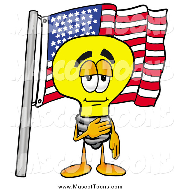 Cartoon of a Light Bulb Mascot Pledging Allegiance to an American Flag