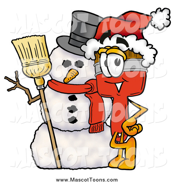Cartoon of a Paint Brush Mascot and Christmas Snowman