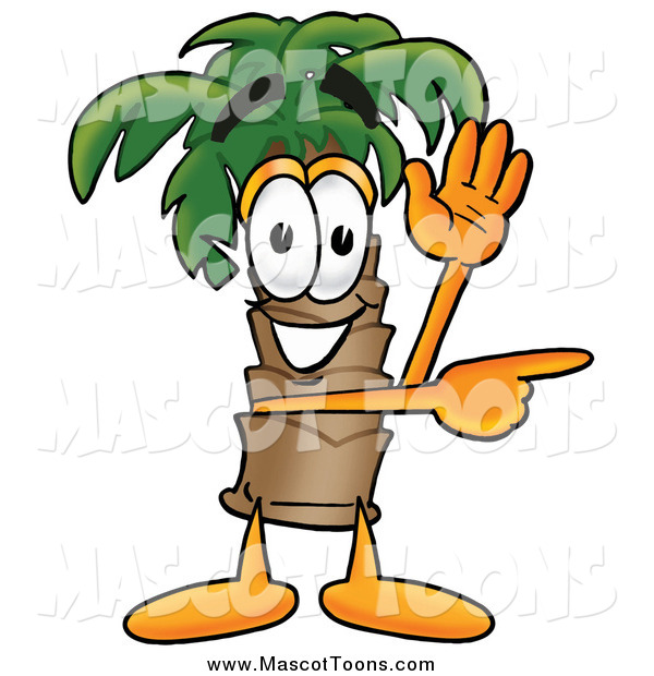 Cartoon of a Palm Tree Mascot Directing by Waving and Pointing