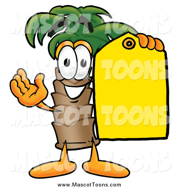 Cartoon of a Palm Tree Mascot Holding a Yellow Sales Tag