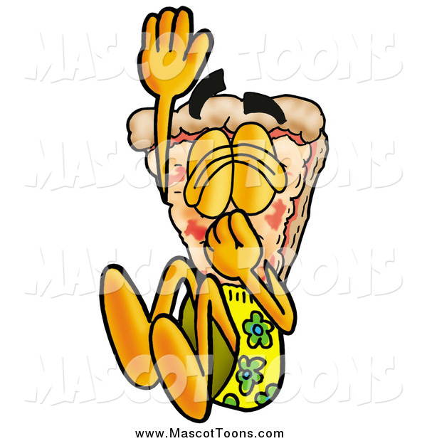 Cartoon of a Pizza Mascot Plugging His Nose While Jumping into Water