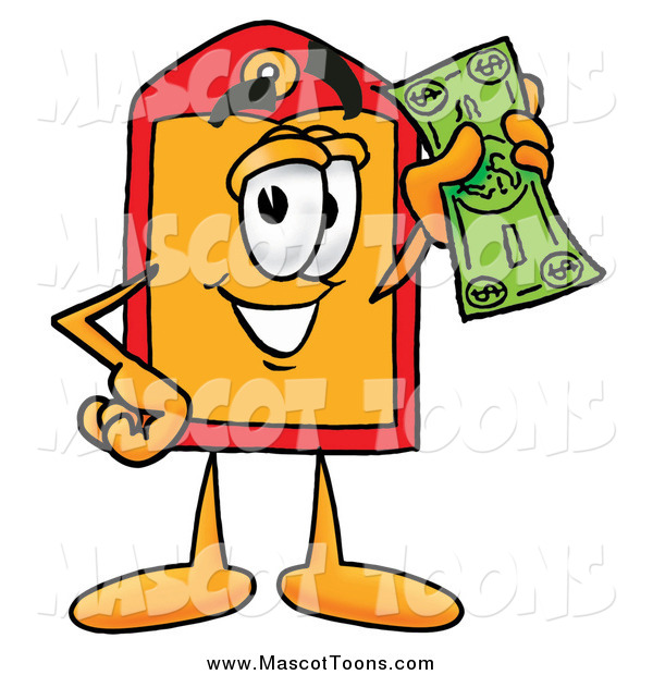 Cartoon of a Price Tag Mascot Holding a Dollar Bill