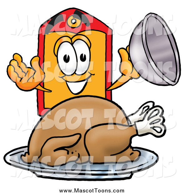 Cartoon of a Price Tag Mascot Serving a Thanksgiving Turkey on a Platter
